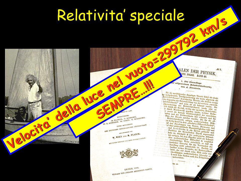 Relativita speciale Velocita della luce nel vuoto=299792 km/s SEMPRE…!!!