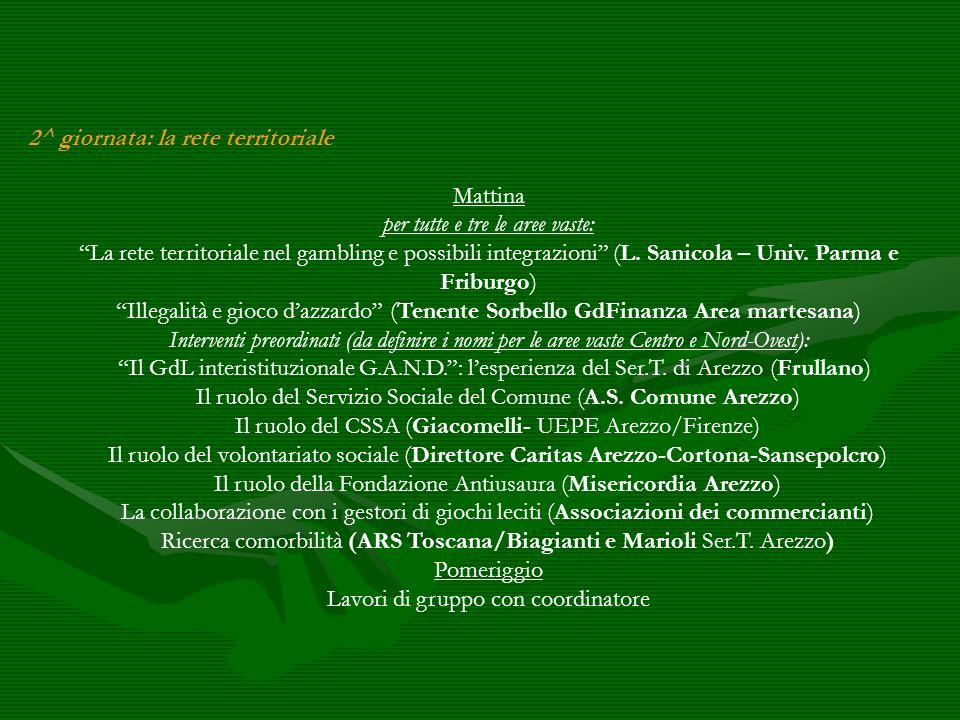 2^ giornata: la rete territoriale Mattina per tutte e tre le aree vaste: La rete territoriale nel gambling e possibili integrazioni (L. Sanicola – Uni