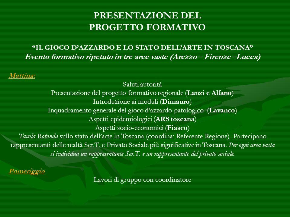 IL GIOCO DAZZARDO E LO STATO DELLARTE IN TOSCANA Evento formativo ripetuto in tre aree vaste (Arezzo – Firenze –Lucca) Mattina: Saluti autorità Presen