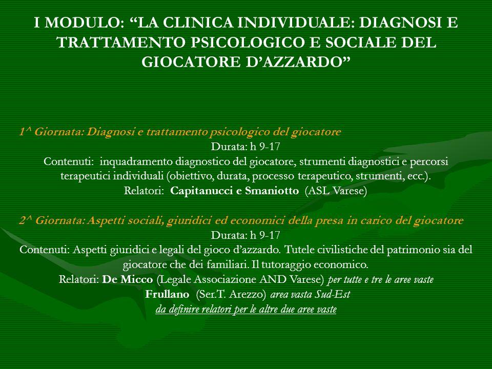 1^ Giornata: Diagnosi e trattamento psicologico del giocatore Durata: h 9-17 Contenuti: inquadramento diagnostico del giocatore, strumenti diagnostici
