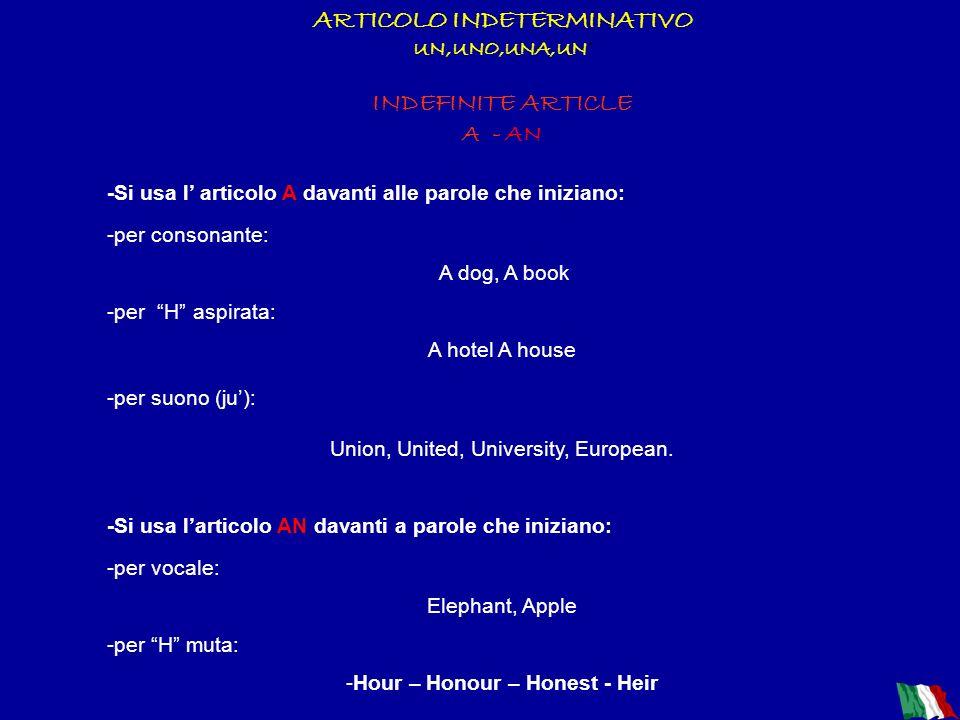 ARTICOLO DETERMINATIVO IL-LO-LA-I-GLI-LE DEFINITE ARTICLE THE - Si usa sia con i nomi singolari, sia con quelli plurali. -La funzione di THE è determi