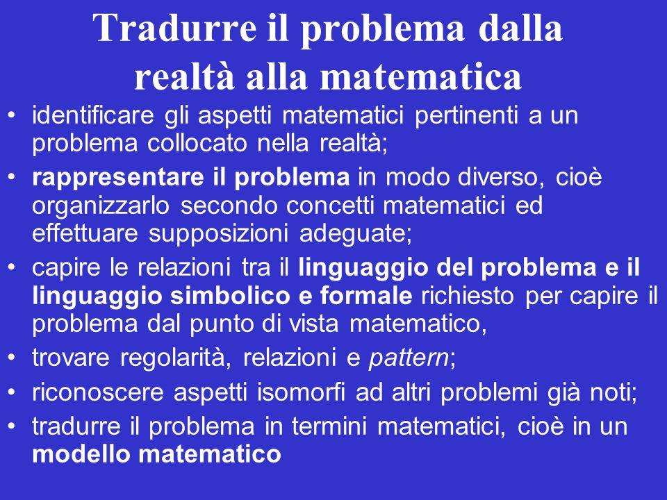 Tradurre il problema dalla realtà alla matematica identificare gli aspetti matematici pertinenti a un problema collocato nella realtà; rappresentare i