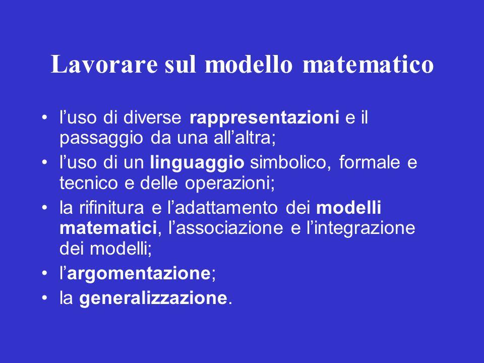 Lavorare sul modello matematico luso di diverse rappresentazioni e il passaggio da una allaltra; luso di un linguaggio simbolico, formale e tecnico e