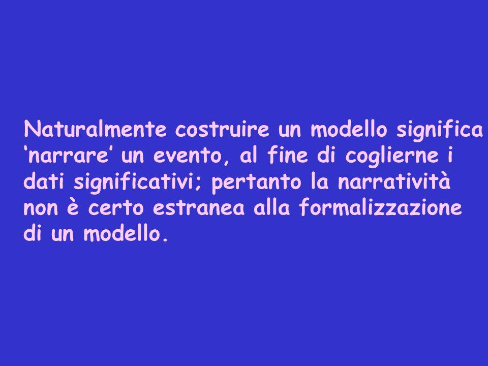 Naturalmente costruire un modello significa narrare un evento, al fine di coglierne i dati significativi; pertanto la narratività non è certo estranea