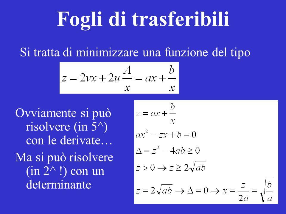 Fogli di trasferibili Ovviamente si può risolvere (in 5^) con le derivate… Ma si può risolvere (in 2^ !) con un determinante Si tratta di minimizzare