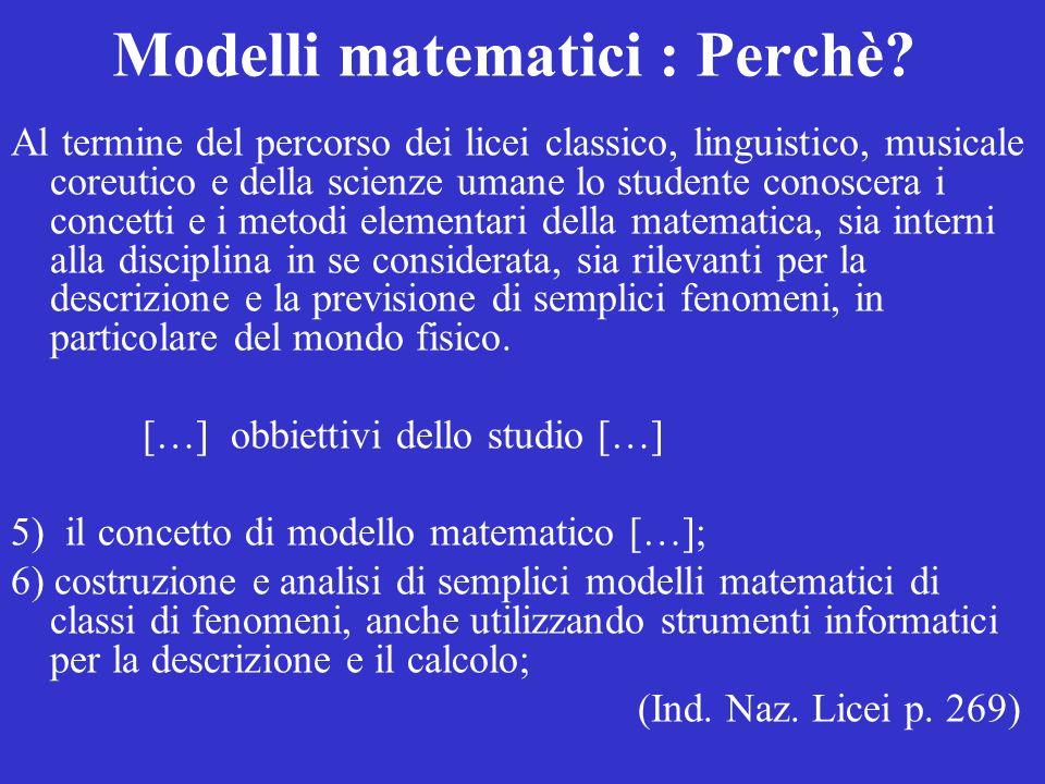 La Matematica per prevedere Modelli Matematici