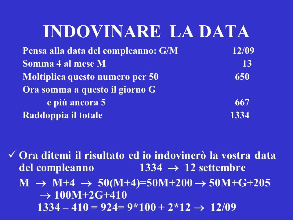INDOVINARE LA DATA Pensa alla data del compleanno: G/M 12/09 Somma 4 al mese M 13 Moltiplica questo numero per 50 650 Ora somma a questo il giorno G e
