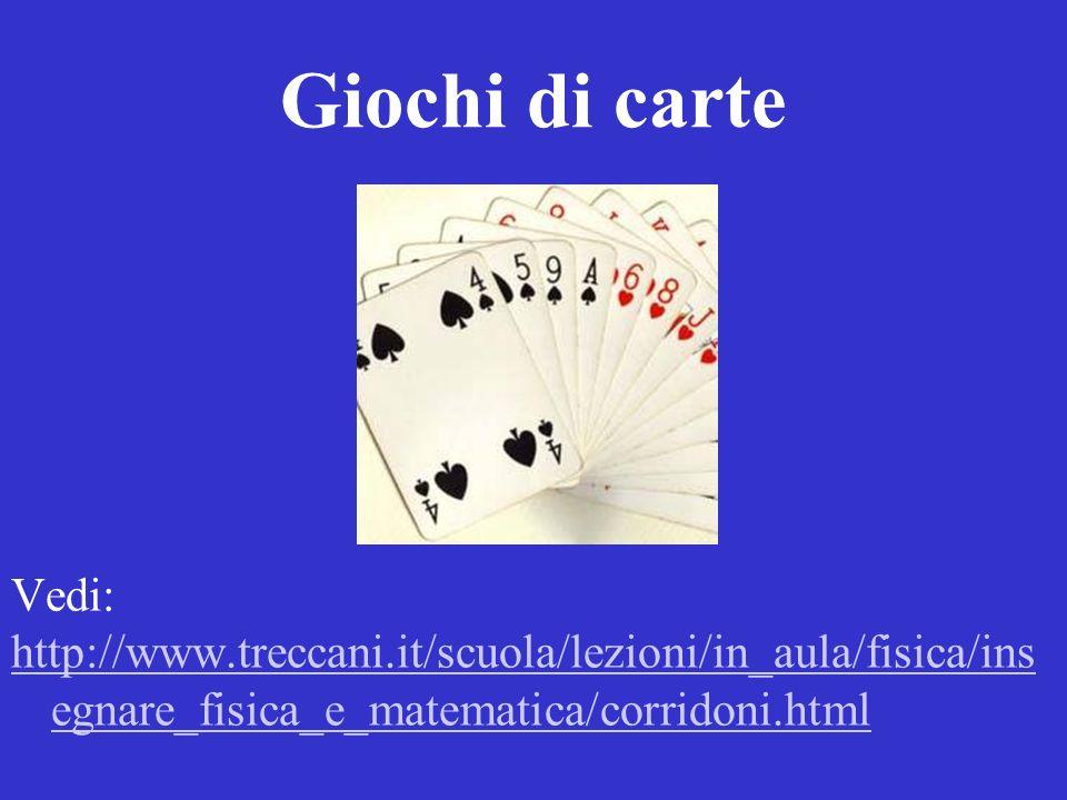 Giochi di carte Vedi: http://www.treccani.it/scuola/lezioni/in_aula/fisica/ins egnare_fisica_e_matematica/corridoni.html