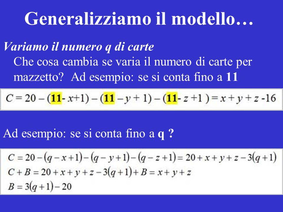 Generalizziamo il modello… Variamo il numero q di carte Che cosa cambia se varia il numero di carte per mazzetto? Ad esempio: se si conta fino a 11 Ad