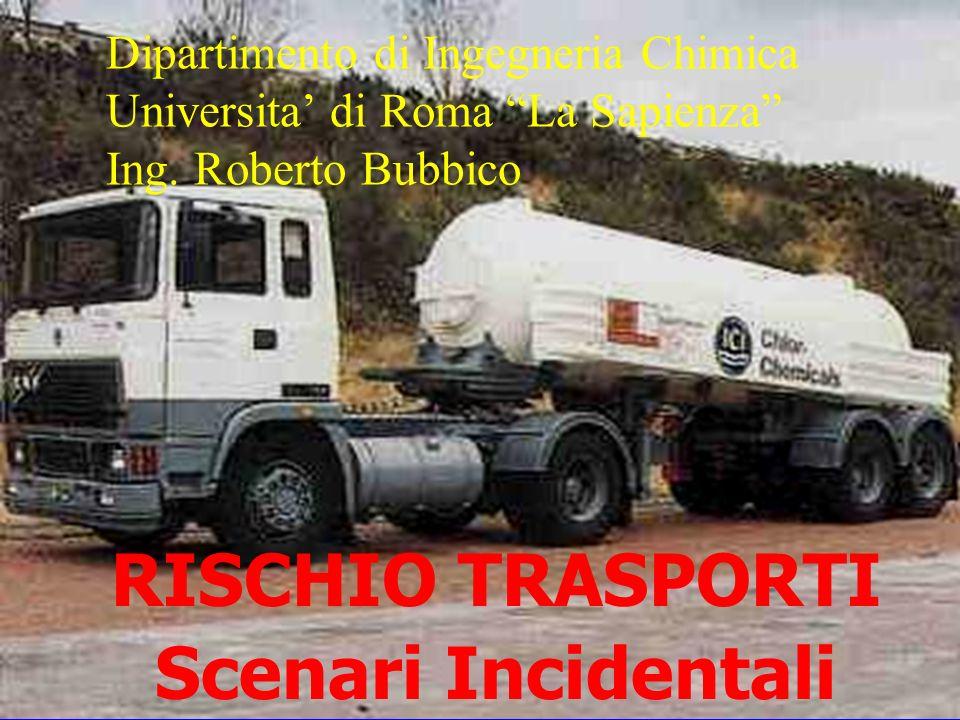 RISCHIO TRASPORTI Scenari Incidentali Dipartimento di Ingegneria Chimica Universita di Roma La Sapienza Ing. Roberto Bubbico