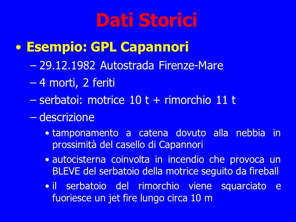 Dati Storici Esempio: GPL Capannori –29.12.1982 Autostrada Firenze-Mare –4 morti, 2 feriti –serbatoi: motrice 10 t + rimorchio 11 t –descrizione tampo