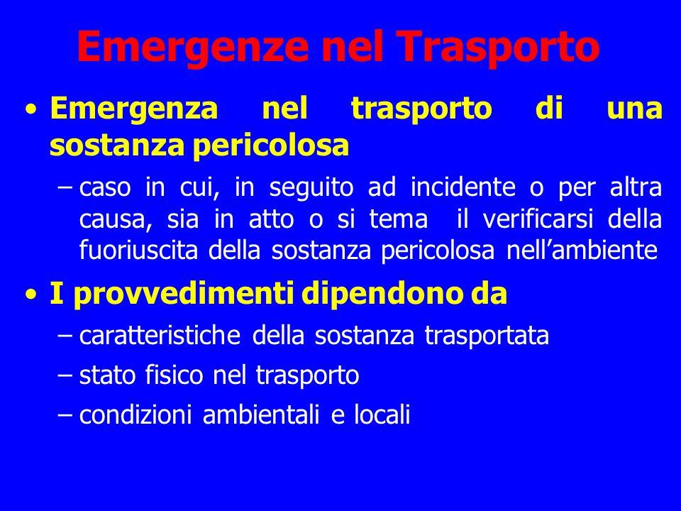 Emergenze nel Trasporto Emergenza nel trasporto di una sostanza pericolosa –caso in cui, in seguito ad incidente o per altra causa, sia in atto o si t