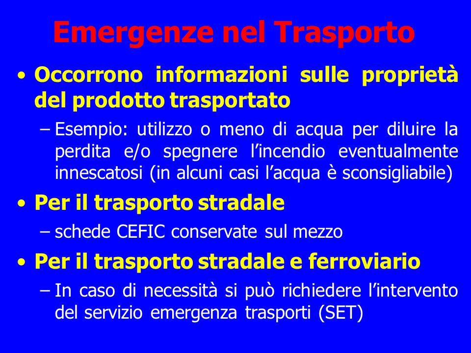 Emergenze nel Trasporto Occorrono informazioni sulle proprietà del prodotto trasportato –Esempio: utilizzo o meno di acqua per diluire la perdita e/o