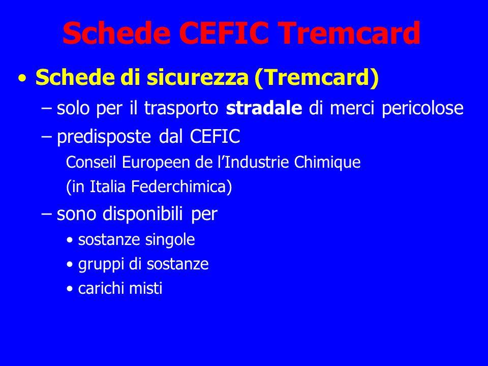 Schede CEFIC Tremcard Schede di sicurezza (Tremcard) –solo per il trasporto stradale di merci pericolose –predisposte dal CEFIC Conseil Europeen de lI