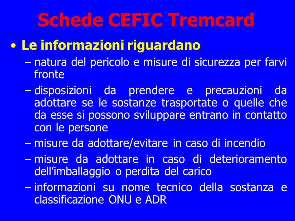 Schede CEFIC Tremcard Le informazioni riguardano –natura del pericolo e misure di sicurezza per farvi fronte –disposizioni da prendere e precauzioni d