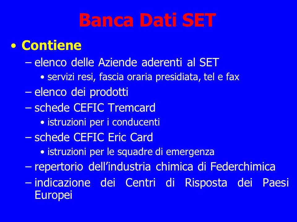 Banca Dati SET Contiene –elenco delle Aziende aderenti al SET servizi resi, fascia oraria presidiata, tel e fax –elenco dei prodotti –schede CEFIC Tre