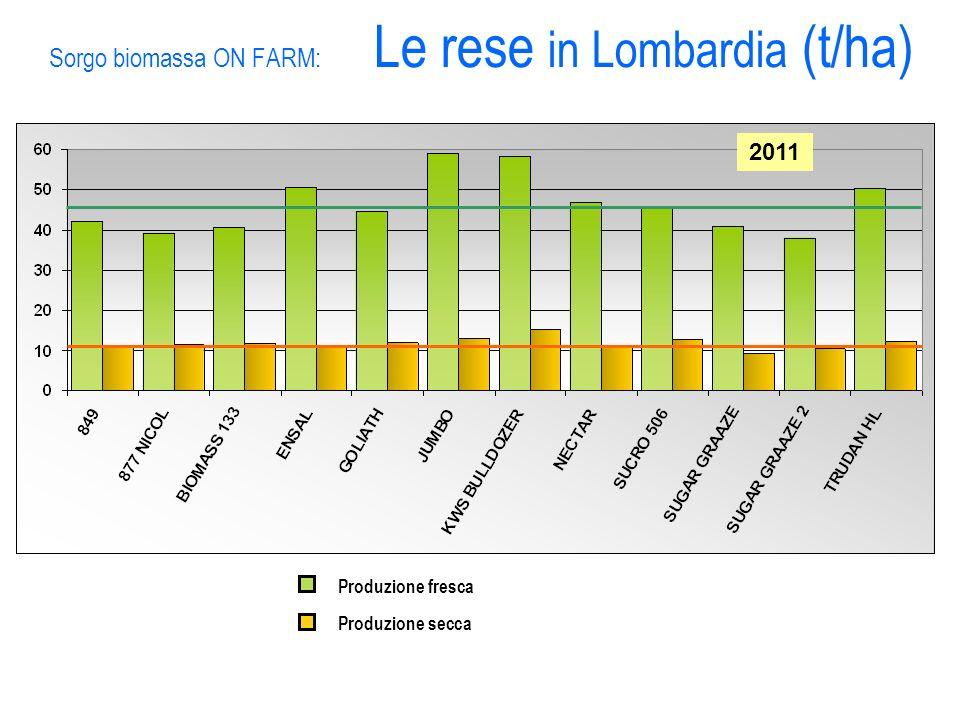 Sorgo biomassa ON FARM: Le rese in Lombardia (t/ha) 2011 Produzione fresca Produzione secca