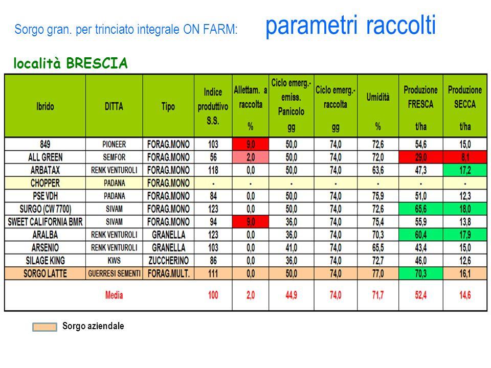 Sorgo gran. per trinciato integrale ON FARM: parametri raccolti località BRESCIA Sorgo aziendale