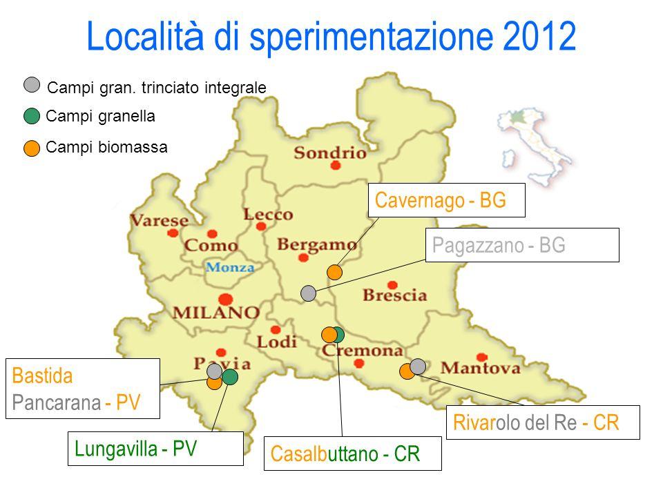 Casalbuttano - CR Rivarolo del Re - CR Bastida Pancarana - PV Lungavilla - PV Campi granella Campi biomassa Pagazzano - BG Cavernago - BG Localit à di