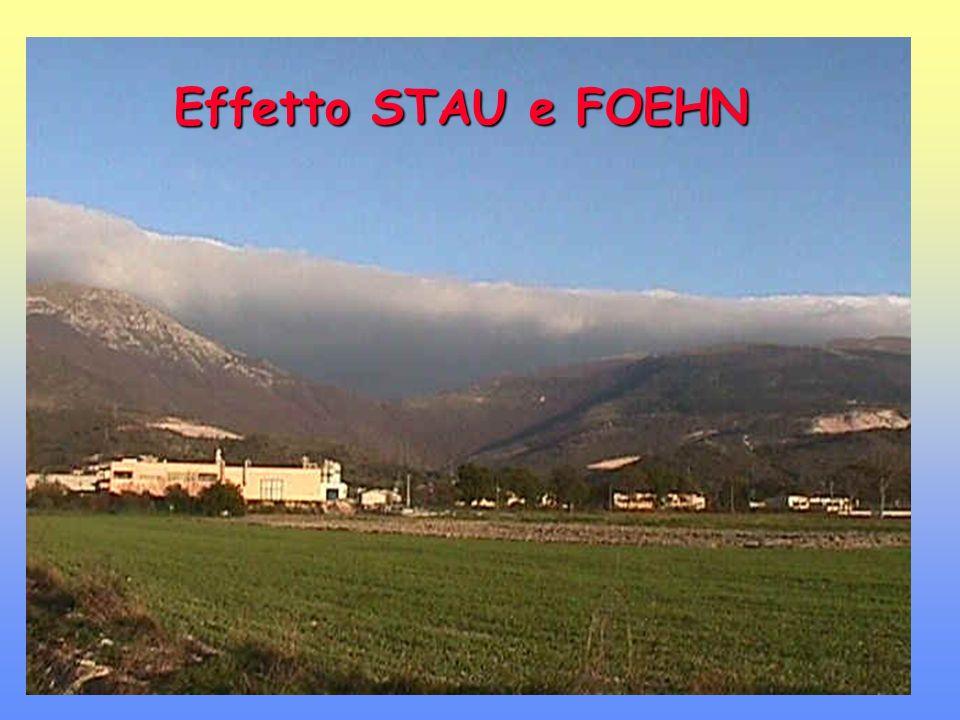 Effetto STAU e FOEHN Condizioni per lo sviluppo: Atmosfera stabile (stabilità assoluta) Catena montuosa Aria che si muove ortogonalmente alla catena montuosa e la scavalca.