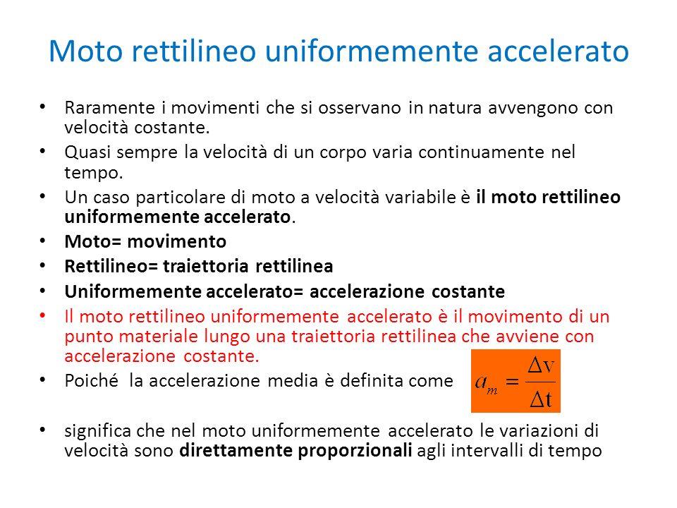 Moto rettilineo uniformemente accelerato Raramente i movimenti che si osservano in natura avvengono con velocità costante.