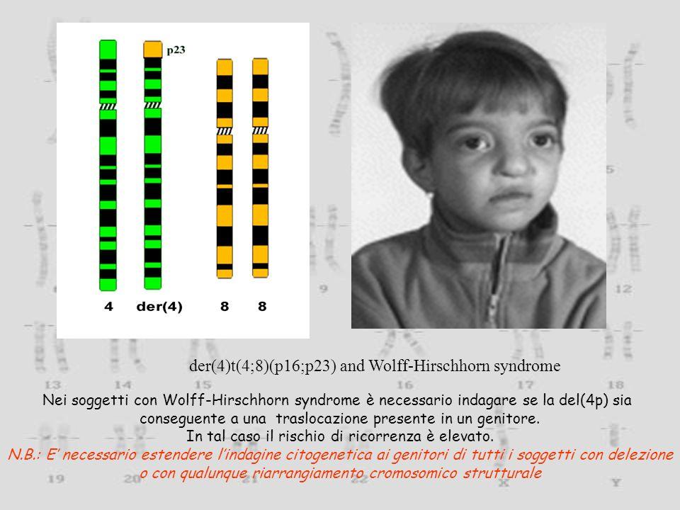 der(4)t(4;8)(p16;p23) and Wolff-Hirschhorn syndrome Nei soggetti con Wolff-Hirschhorn syndrome è necessario indagare se la del(4p) sia conseguente a u