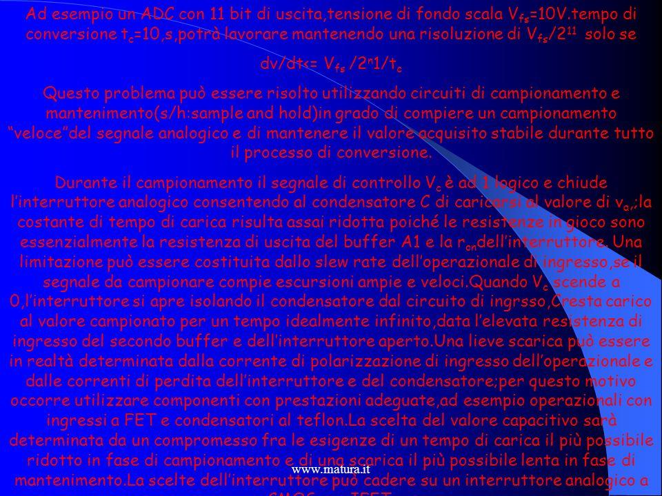 www.matura.it Dal momento che i convertitori A/D impiegano un tempo finito (approssimativamente da 20ms a 1 ns con ADC ad alta velocità)per digitalizz
