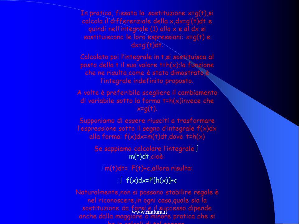 www.matura.it Avviene talvolta che il calcolo di un integrale: (1 ) f(x)dx Si semplifica quando si cambia la variabile dintegrazione x con unaltra var
