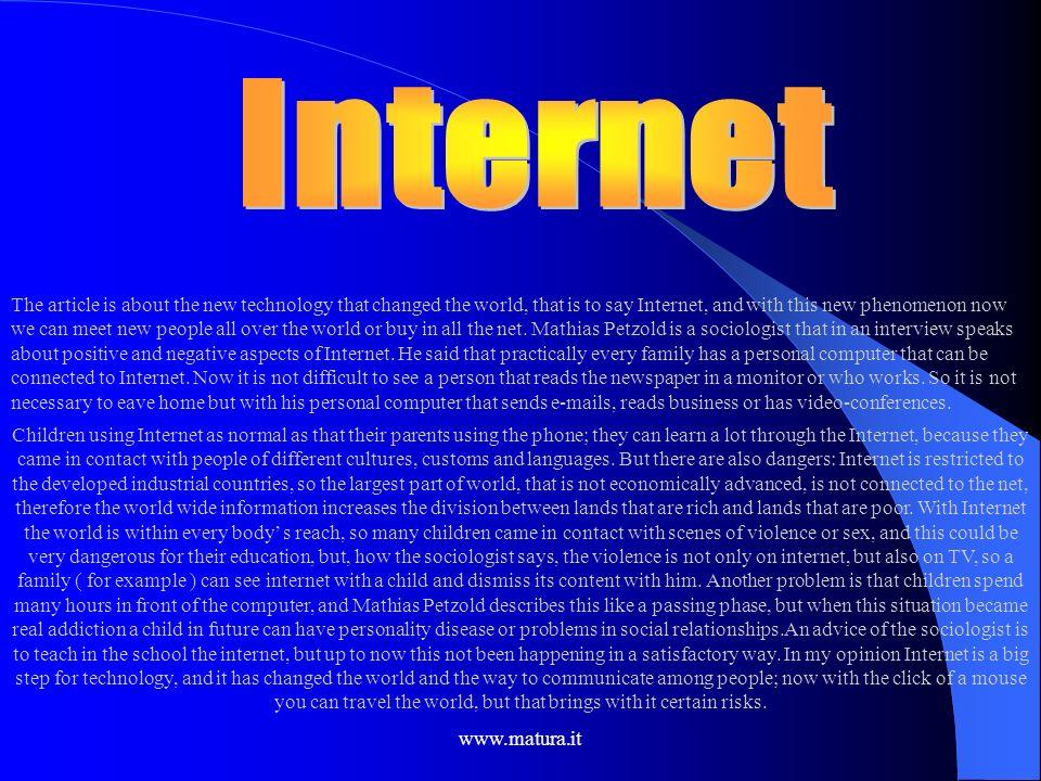www.matura.it Pro e Contro di questo fenomeno Pro I sostenitori affermano che: La globalizzazione produce ricchezza; È un fenomeno inarrestabile; Rivi