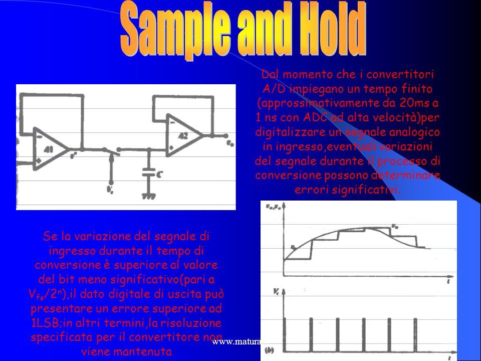www.matura.it Un concetto implicito nella conversione A/D è quello di campionamento del segnale in vari istanti successivi. Infatti la conversione con