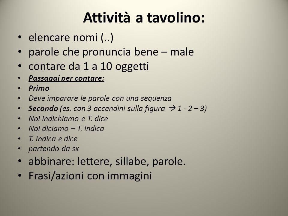 Attività a tavolino: elencare nomi (..) parole che pronuncia bene – male contare da 1 a 10 oggetti Passaggi per contare: Primo Deve imparare le parole