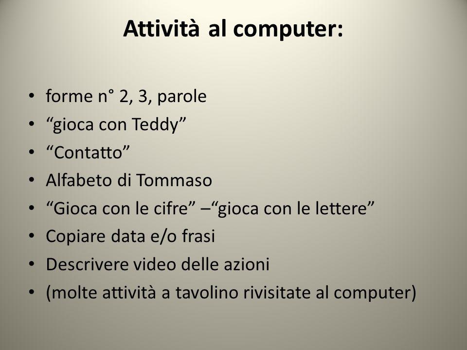 Attività al computer: forme n° 2, 3, parole gioca con Teddy Contatto Alfabeto di Tommaso Gioca con le cifre –gioca con le lettere Copiare data e/o fra
