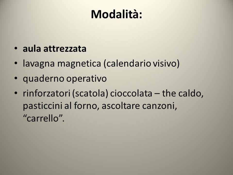 Modalità: aula attrezzata lavagna magnetica (calendario visivo) quaderno operativo rinforzatori (scatola) cioccolata – the caldo, pasticcini al forno, ascoltare canzoni, carrello.