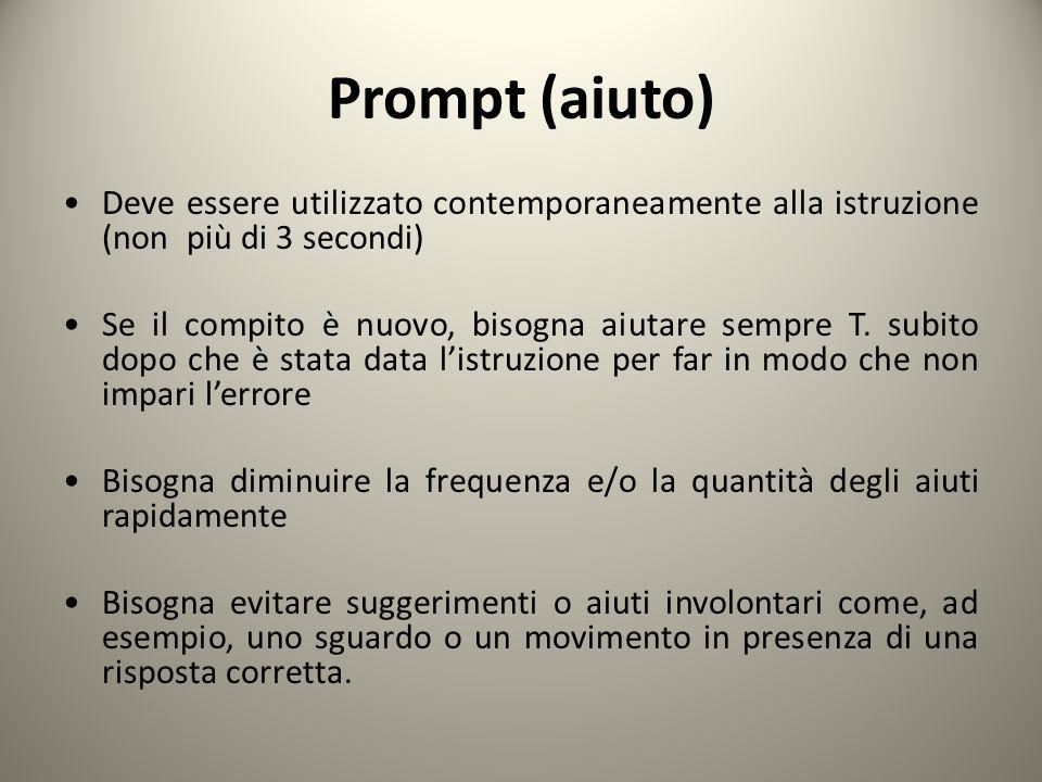 Prompt (aiuto) Deve essere utilizzato contemporaneamente alla istruzione (non più di 3 secondi) Se il compito è nuovo, bisogna aiutare sempre T. subit