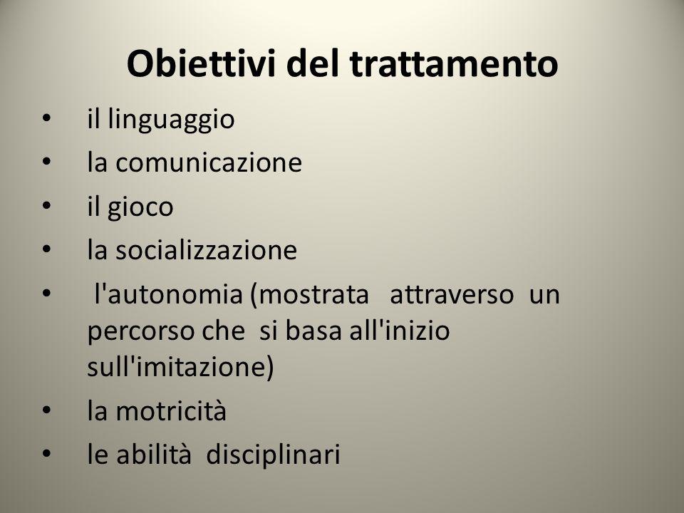 Obiettivi del trattamento il linguaggio la comunicazione il gioco la socializzazione l autonomia (mostrata attraverso un percorso che si basa all inizio sull imitazione) la motricità le abilità disciplinari
