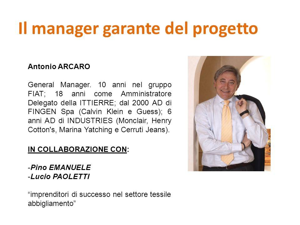 Il manager garante del progetto Antonio ARCARO General Manager. 10 anni nel gruppo FIAT; 18 anni come Amministratore Delegato della ITTIERRE; dal 2000