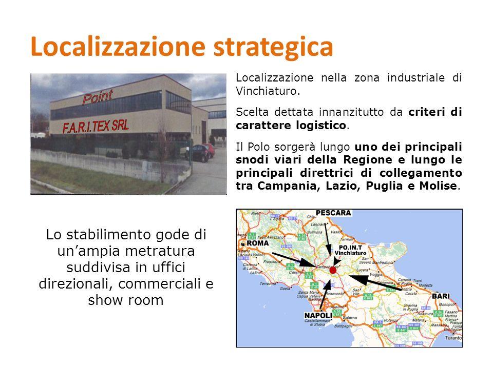Localizzazione strategica Localizzazione nella zona industriale di Vinchiaturo. Scelta dettata innanzitutto da criteri di carattere logistico. Il Polo