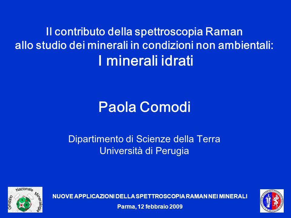 NUOVE APPLICAZIONI DELLA SPETTROSCOPIA RAMAN NEI MINERALI Parma, 12 febbraio 2009 Il contributo della spettroscopia Raman allo studio dei minerali in