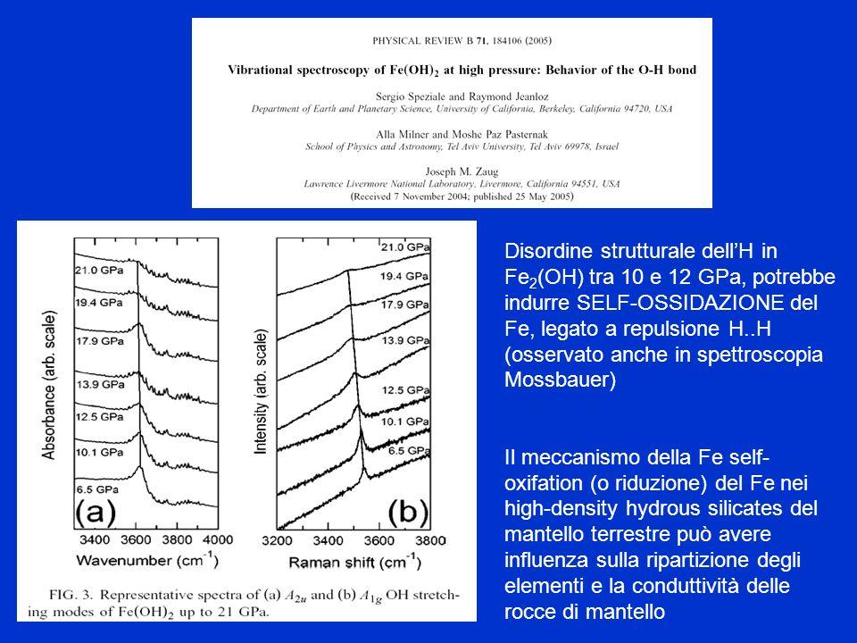 Disordine strutturale dellH in Fe 2 (OH) tra 10 e 12 GPa, potrebbe indurre SELF-OSSIDAZIONE del Fe, legato a repulsione H..H (osservato anche in spett