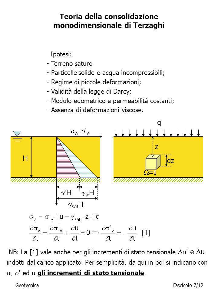 GeotecnicaFascicolo 7/12 Ipotesi: - Terreno saturo - Particelle solide e acqua incompressibili; - Regime di piccole deformazioni; - Validità della leg