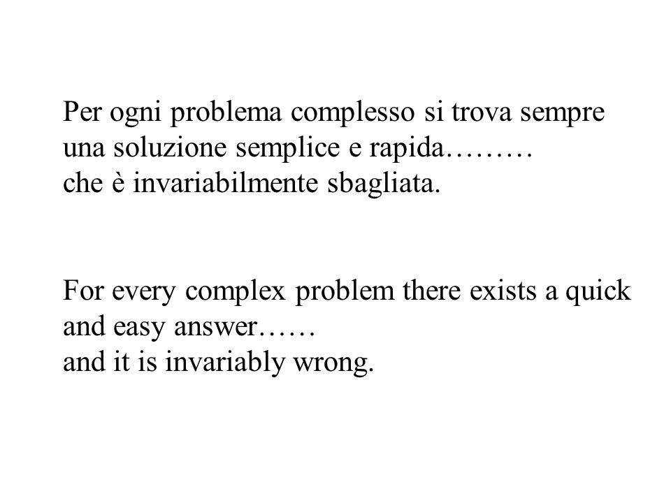 Per ogni problema complesso si trova sempre una soluzione semplice e rapida……… che è invariabilmente sbagliata. For every complex problem there exists
