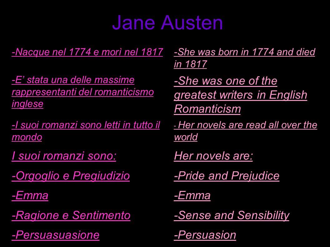 -Nacque nel 1774 e morì nel 1817-She was born in 1774 and died in 1817 -E stata una delle massime rappresentanti del romanticismo inglese -She was one