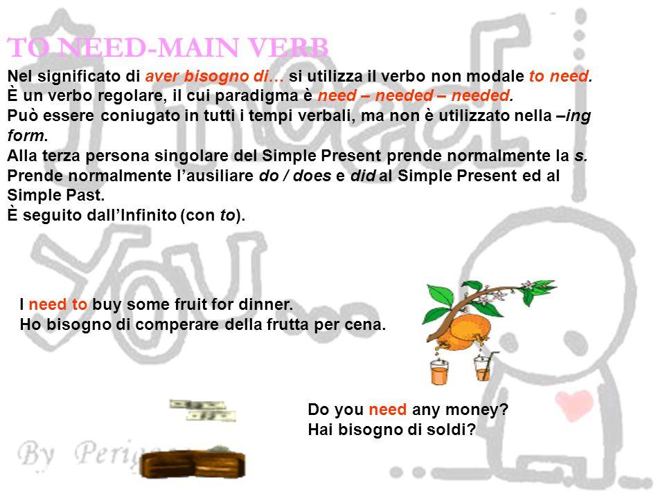 TO NEED-MAIN VERB Nel significato di aver bisogno di… si utilizza il verbo non modale to need. È un verbo regolare, il cui paradigma è need – needed –