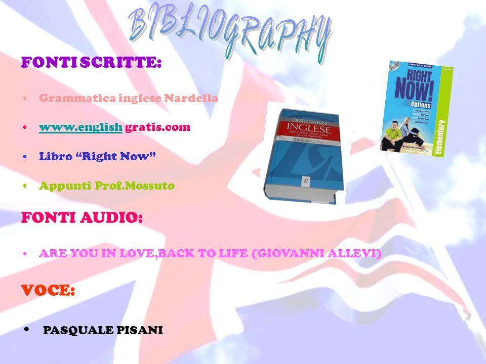 FONTI SCRITTE: Grammatica inglese Nardella www.english gratis.comwww.english Libro Right Now Appunti Prof.Mossuto FONTI AUDIO: ARE YOU IN LOVE,BACK TO