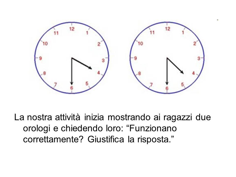 La nostra attività inizia mostrando ai ragazzi due orologi e chiedendo loro: Funzionano correttamente? Giustifica la risposta.