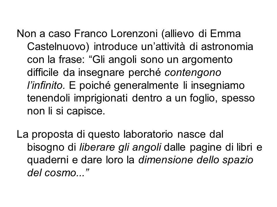 Non a caso Franco Lorenzoni (allievo di Emma Castelnuovo) introduce unattività di astronomia con la frase: Gli angoli sono un argomento difficile da i
