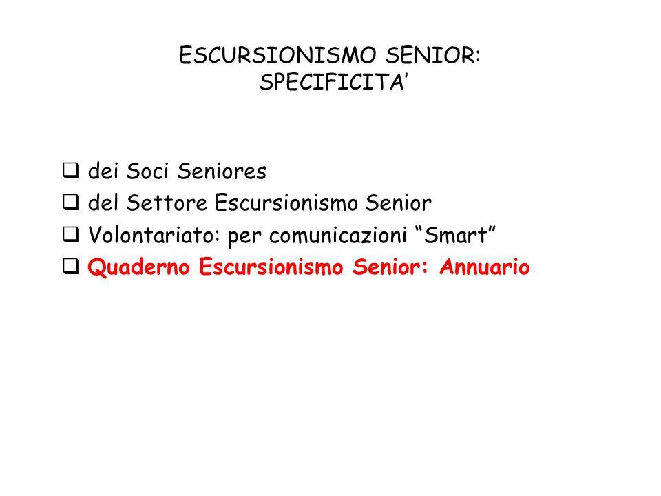ESCURSIONISMO SENIOR: SPECIFICITA dei Soci Seniores del Settore Escursionismo Senior Volontariato: per comunicazioni Smart Quaderno Escursionismo Senior: Annuario