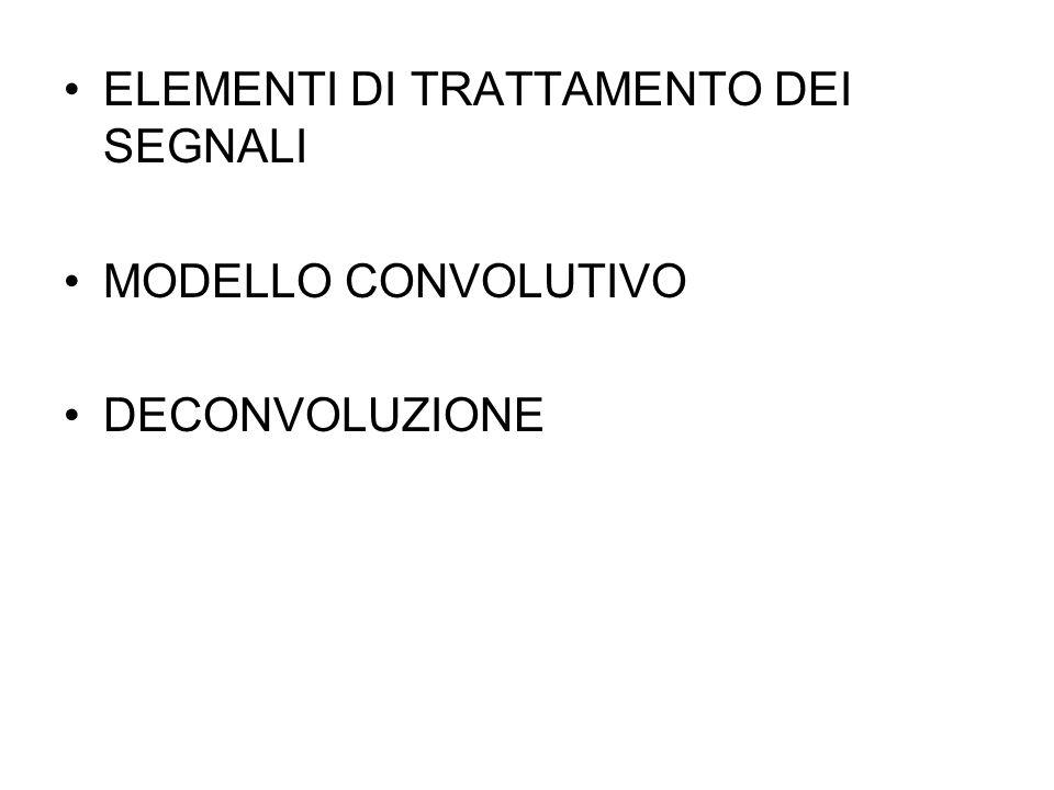 ELEMENTI DI TRATTAMENTO DEI SEGNALI MODELLO CONVOLUTIVO DECONVOLUZIONE