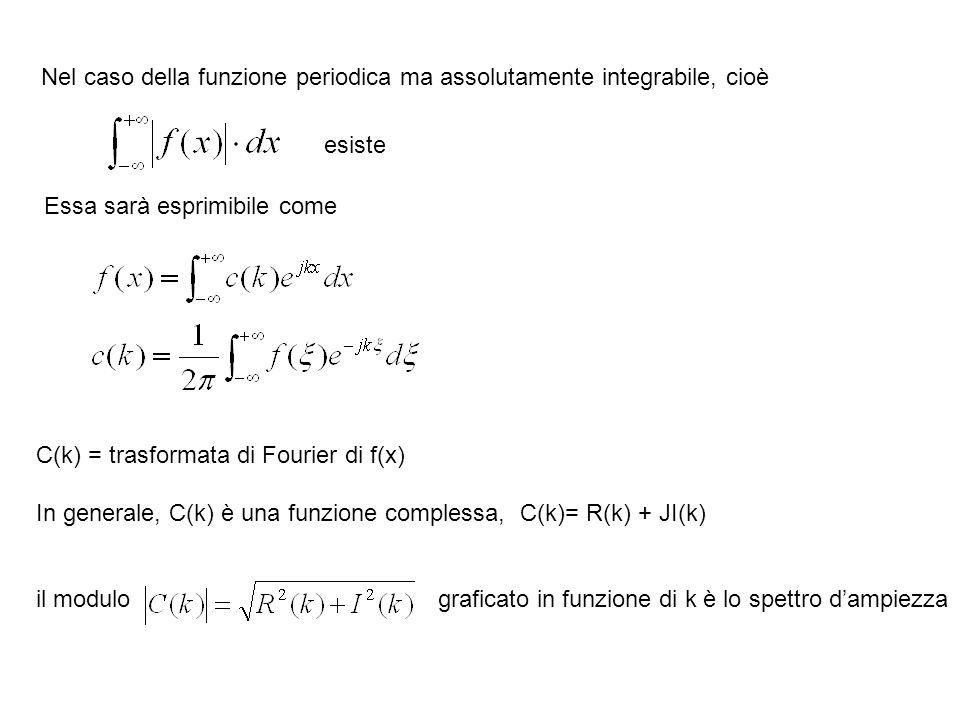 Nel caso della funzione periodica ma assolutamente integrabile, cioè esiste Essa sarà esprimibile come C(k) = trasformata di Fourier di f(x) In genera
