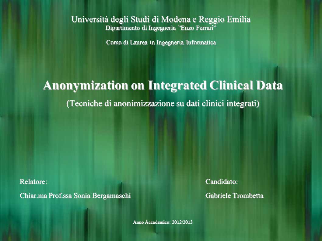 Università degli Studi di Modena e Reggio Emilia Dipartimento di Ingegneria Enzo Ferrari Corso di Laurea in Ingegneria Informatica Anonymization on In